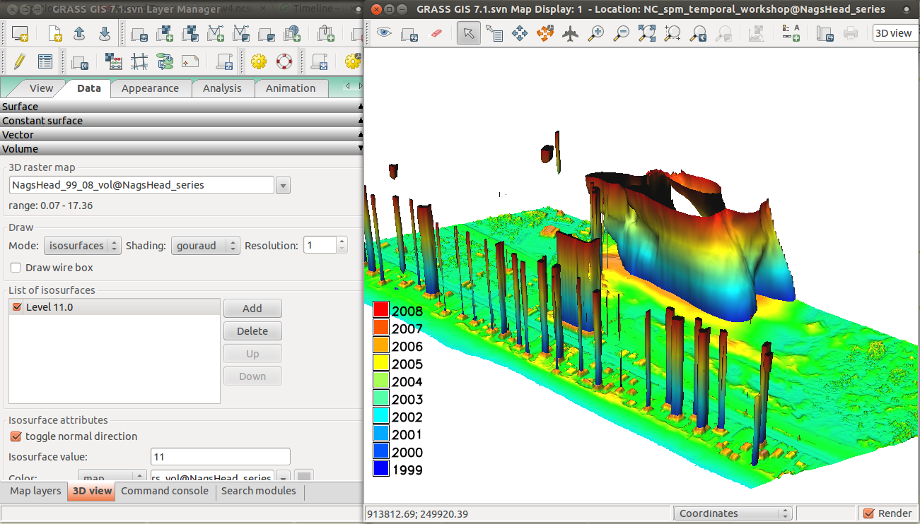 Spatio-temporal data handling and visualization in GRASS GIS